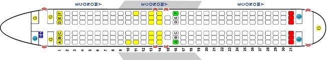 схема салона боинг 737 800, 189 мест
