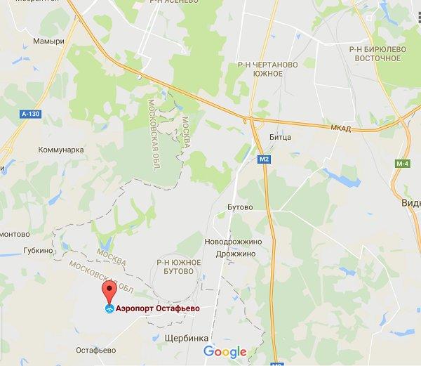 Аэропорт Остафьево на карте