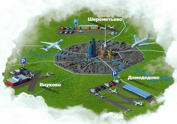 Схематичная карта Москвы с аэропортами