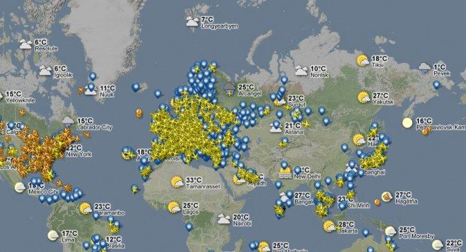 Самолёты на карте