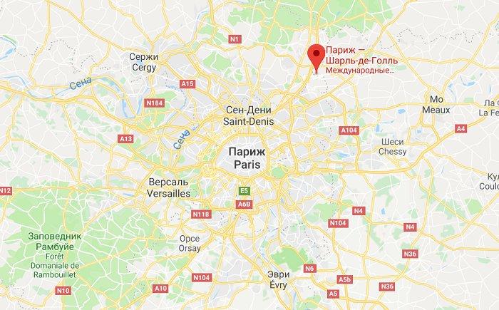 Шарль-де-Голль на карте