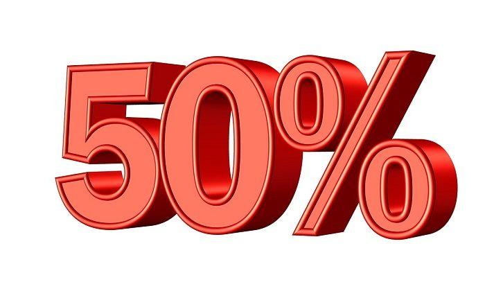 50 процентов скидка