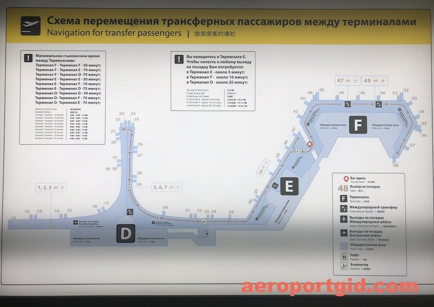 Cхема перемещения пассажиров Шереметьево D E F