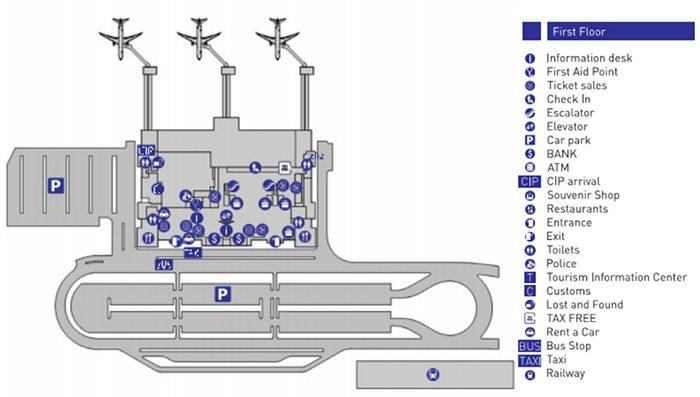 Схема терминала аэропорта Тбилиси