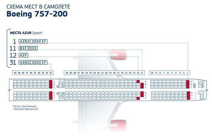 Боинг 757-200 удобные места