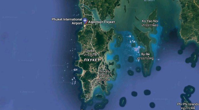 Международный аэропорт Пхукета на карте