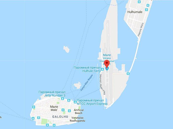 Аэропорт Мале на карте
