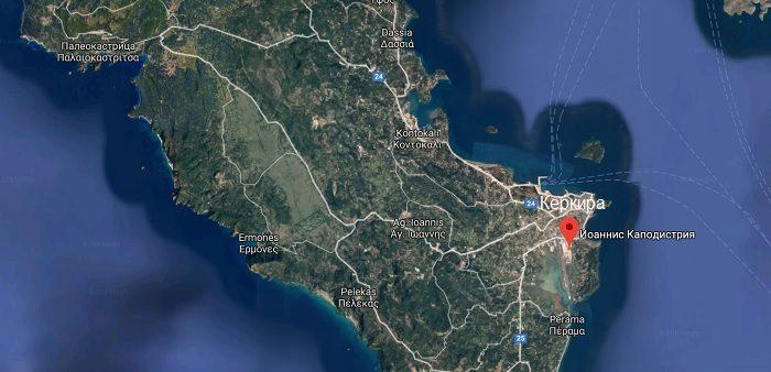 Расположение аэропорта Корфу на карте